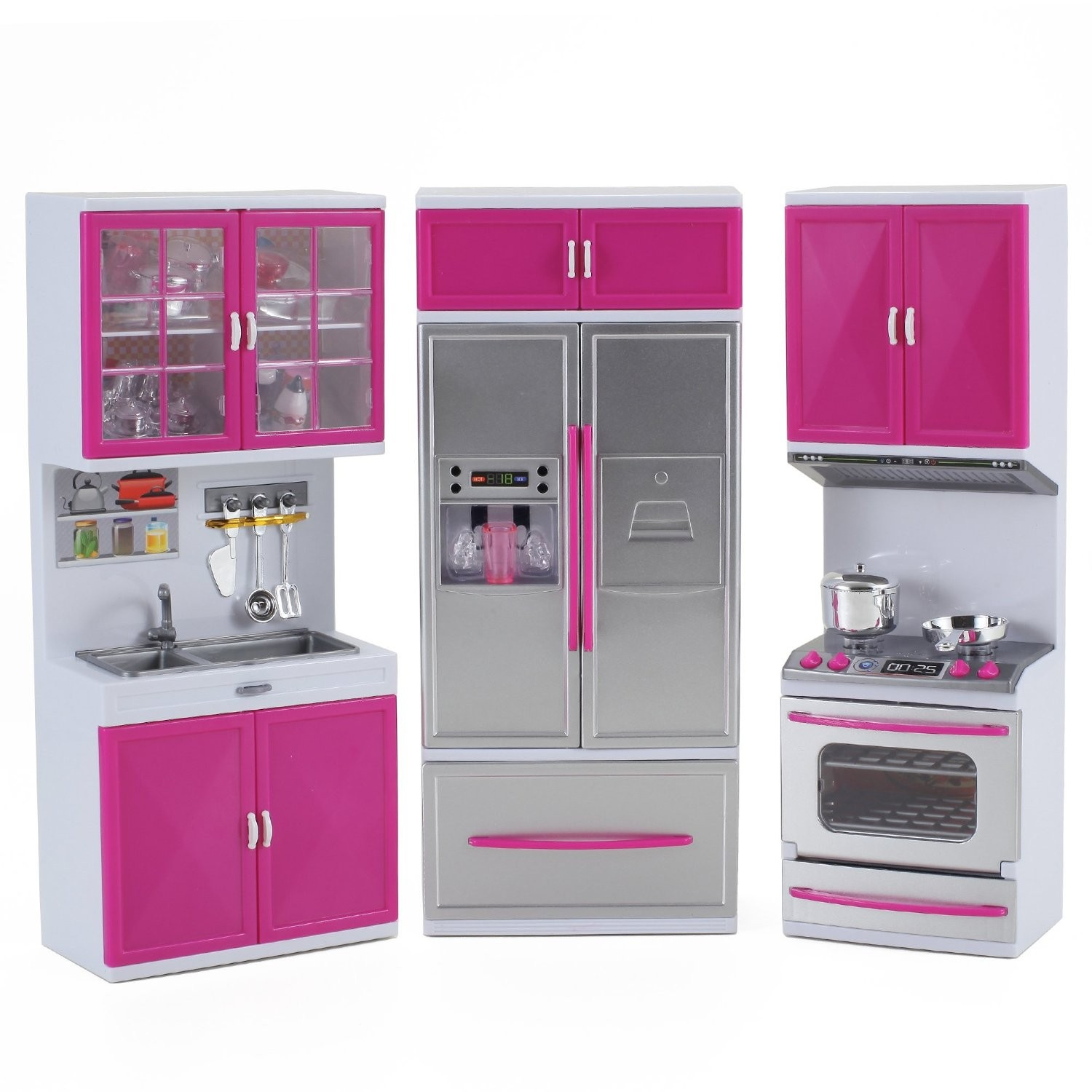 My modern kitchen full deluxe kit battery operated kitchen for Kitchen kitchen set