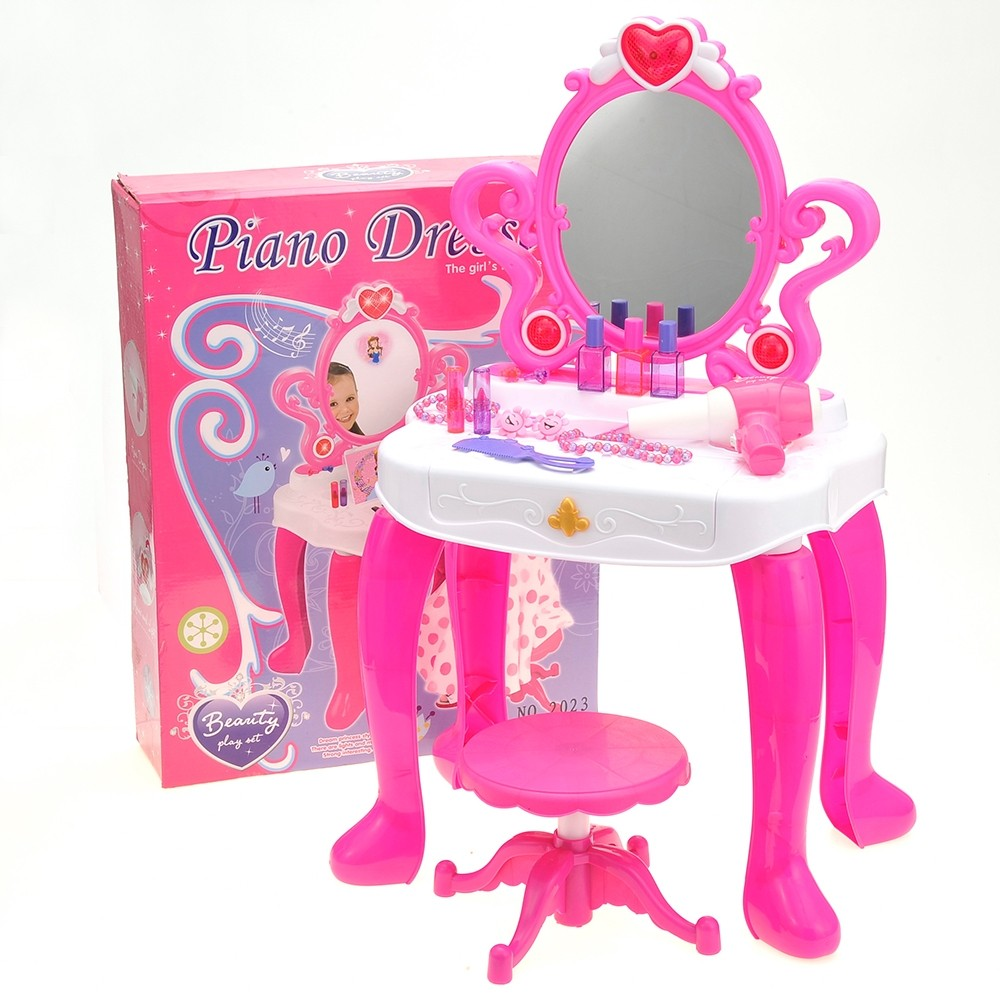 2-In-1 Vanity Set With Beauty Accessories, Working Piano, And Mirror