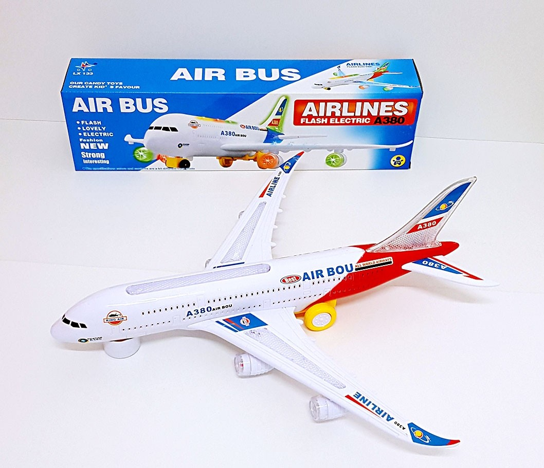 Airbus Plane With Flashing Lights and Sounds (Red)