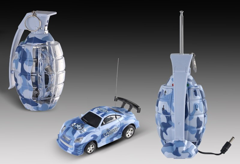 "2.7"" Mini RC Camouflage Grenade Car (Blue)"