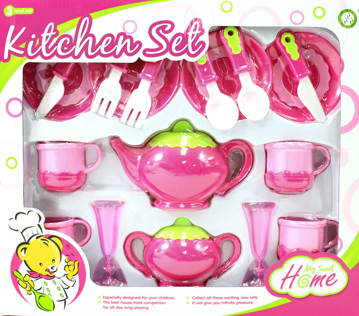 Deluxe Pink Tea Set For Kids With Tea Pots, Cups, Dishes And Kitchen Utensils (18 pcs)