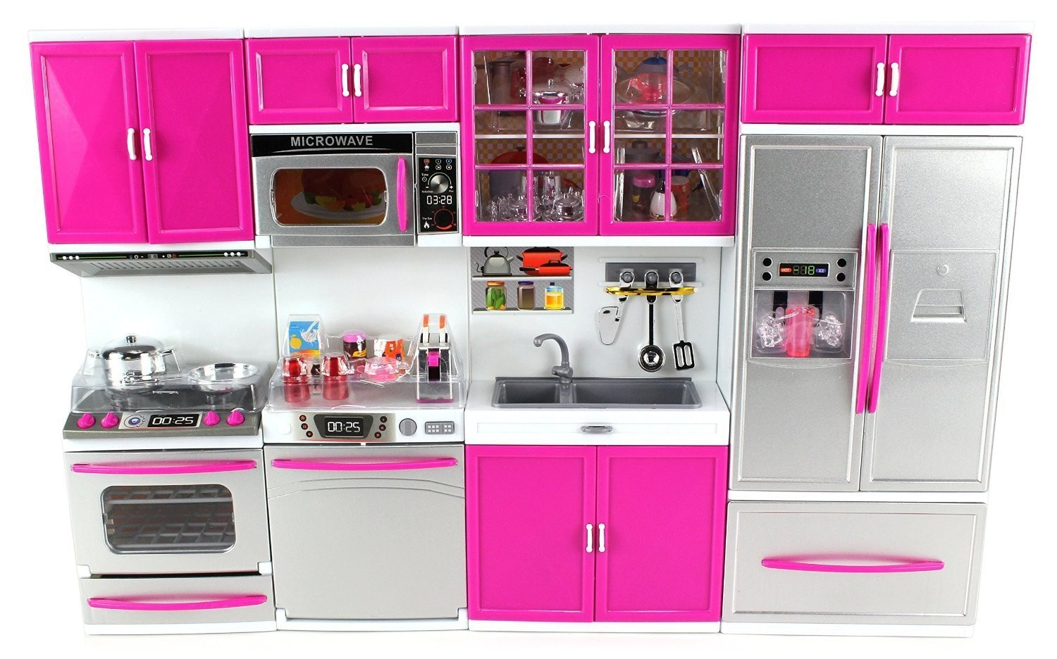 My Modern Kitchen Full Deluxe Kit Battery Operated Kitchen Playset : Refrigerator, Stove, Sink, Microwave