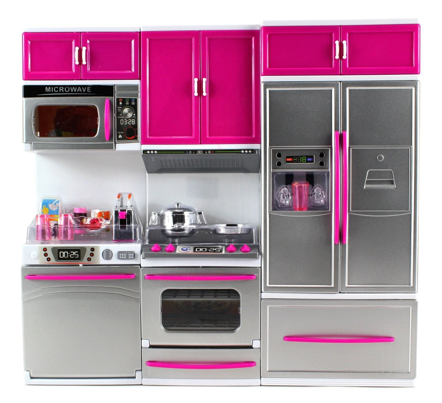 My Modern Kitchen Full Deluxe Kit Battery Operated Kitchen Playset: Refrigerator, Stove, Microwave