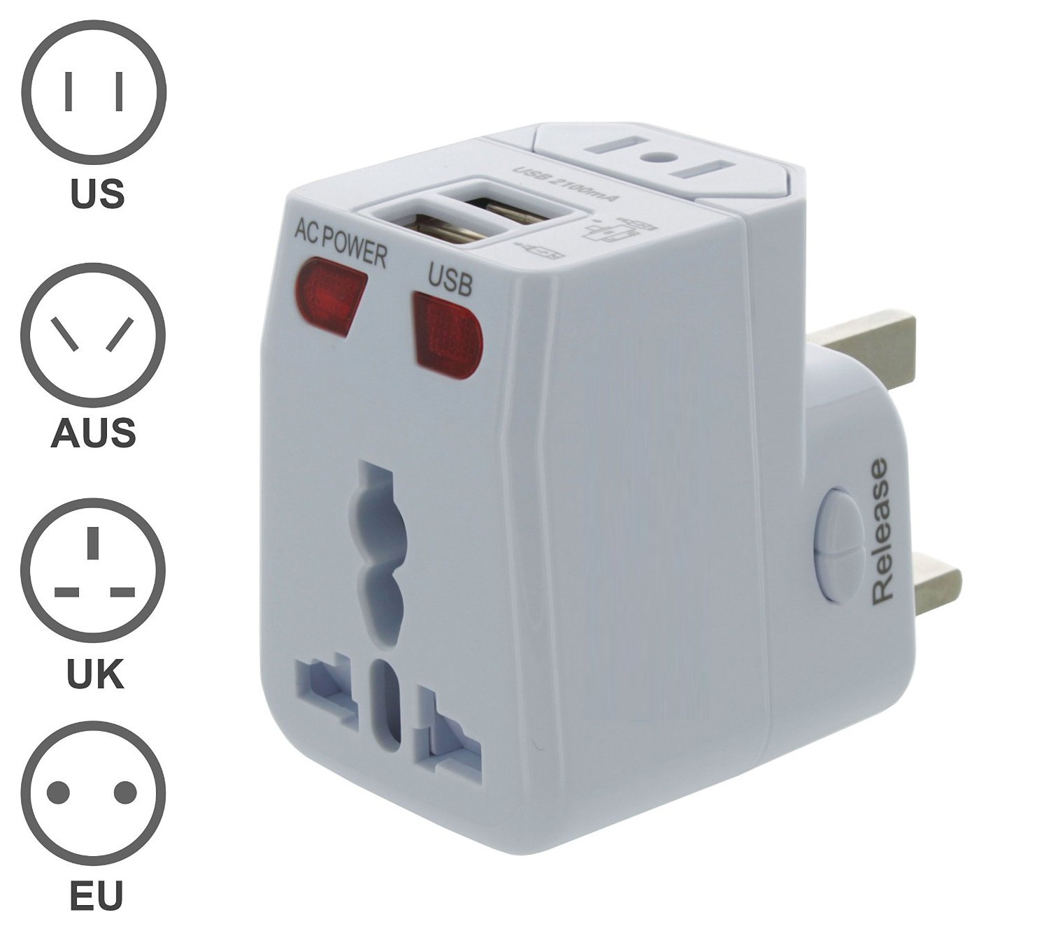 Universal Travel Adapter with Dual USB Charging Ports