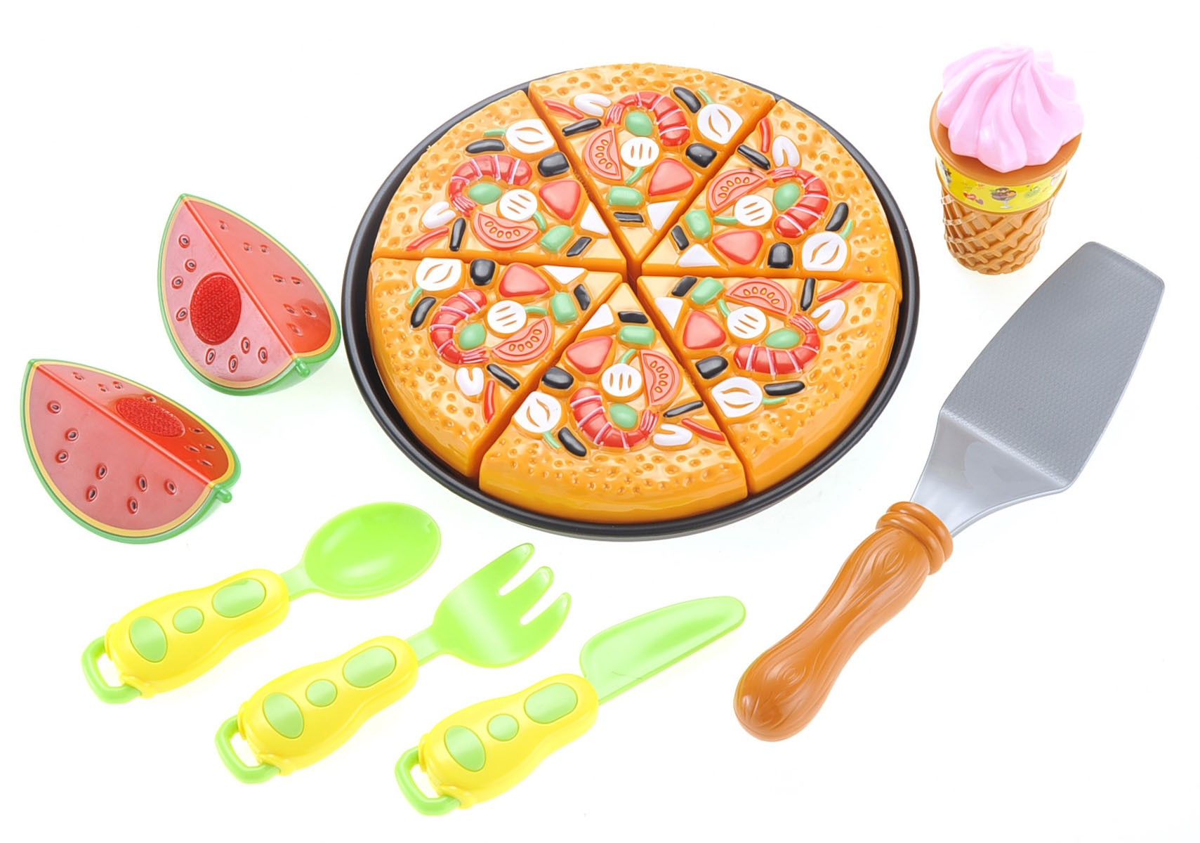 Pizza Playset With Watermelon, Icecream And Utensils