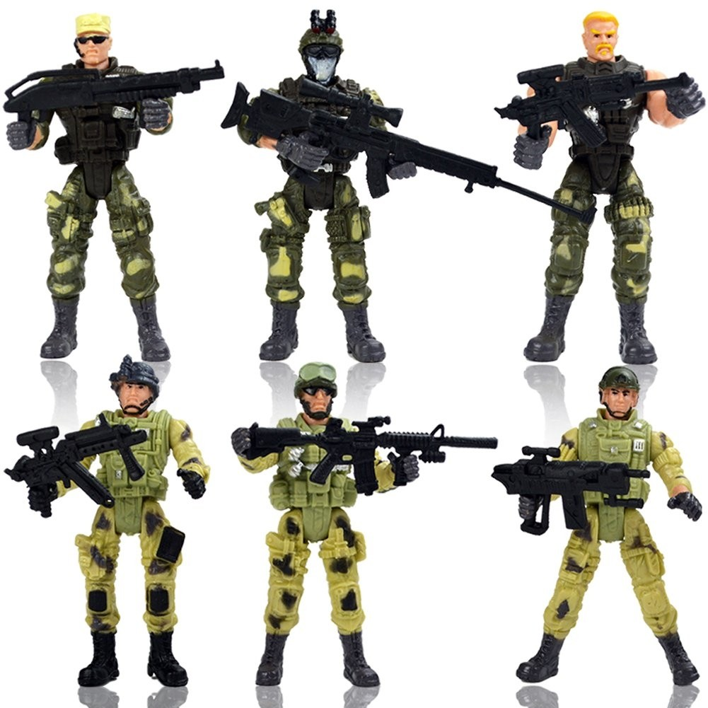Special Force Army SWAT Soldiers Action Figures with Weapons and Accessories 4 Inches Tall, 6 Figures/Pack