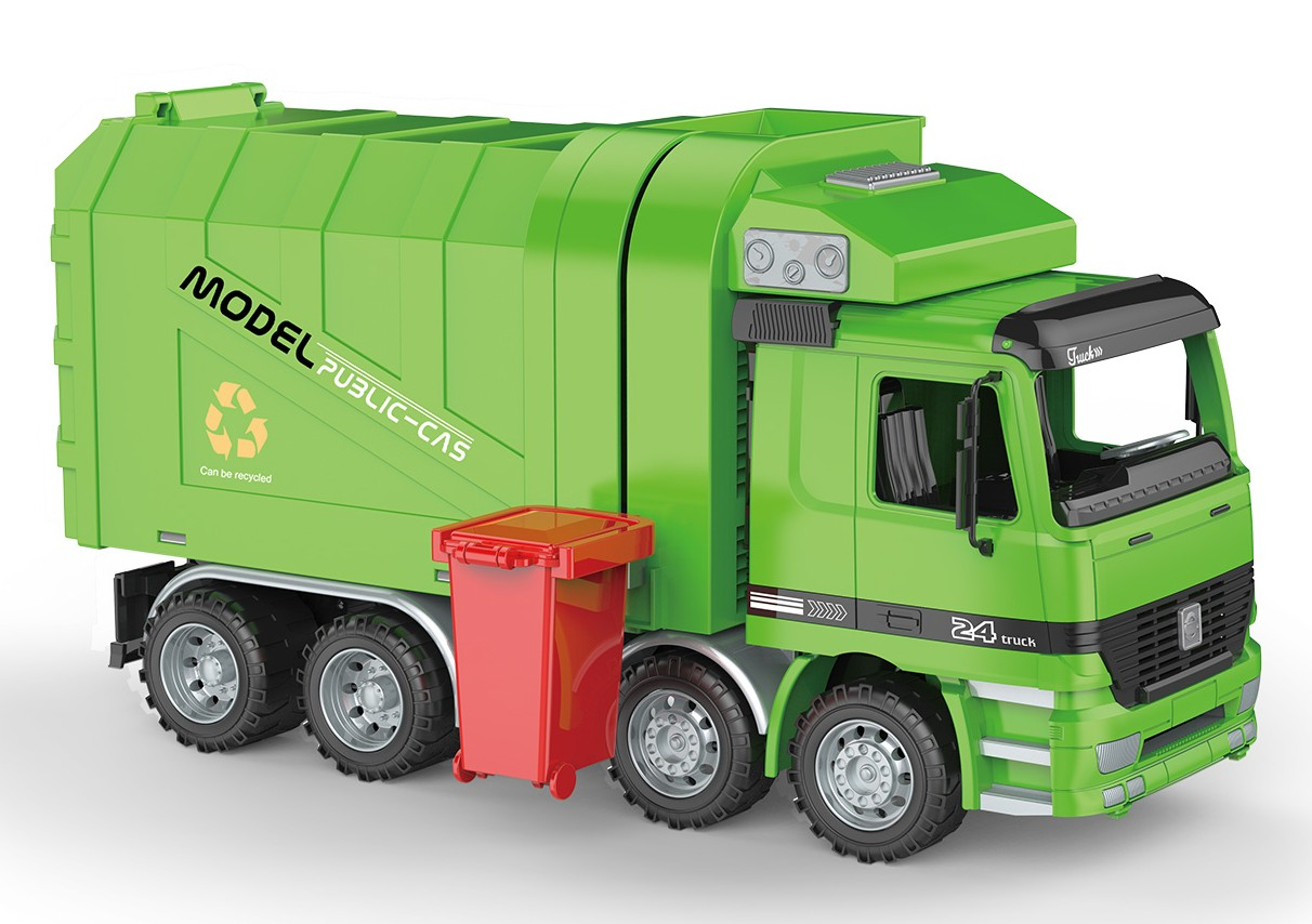 "14"" Friction Powered Recycling Garbage Truck"