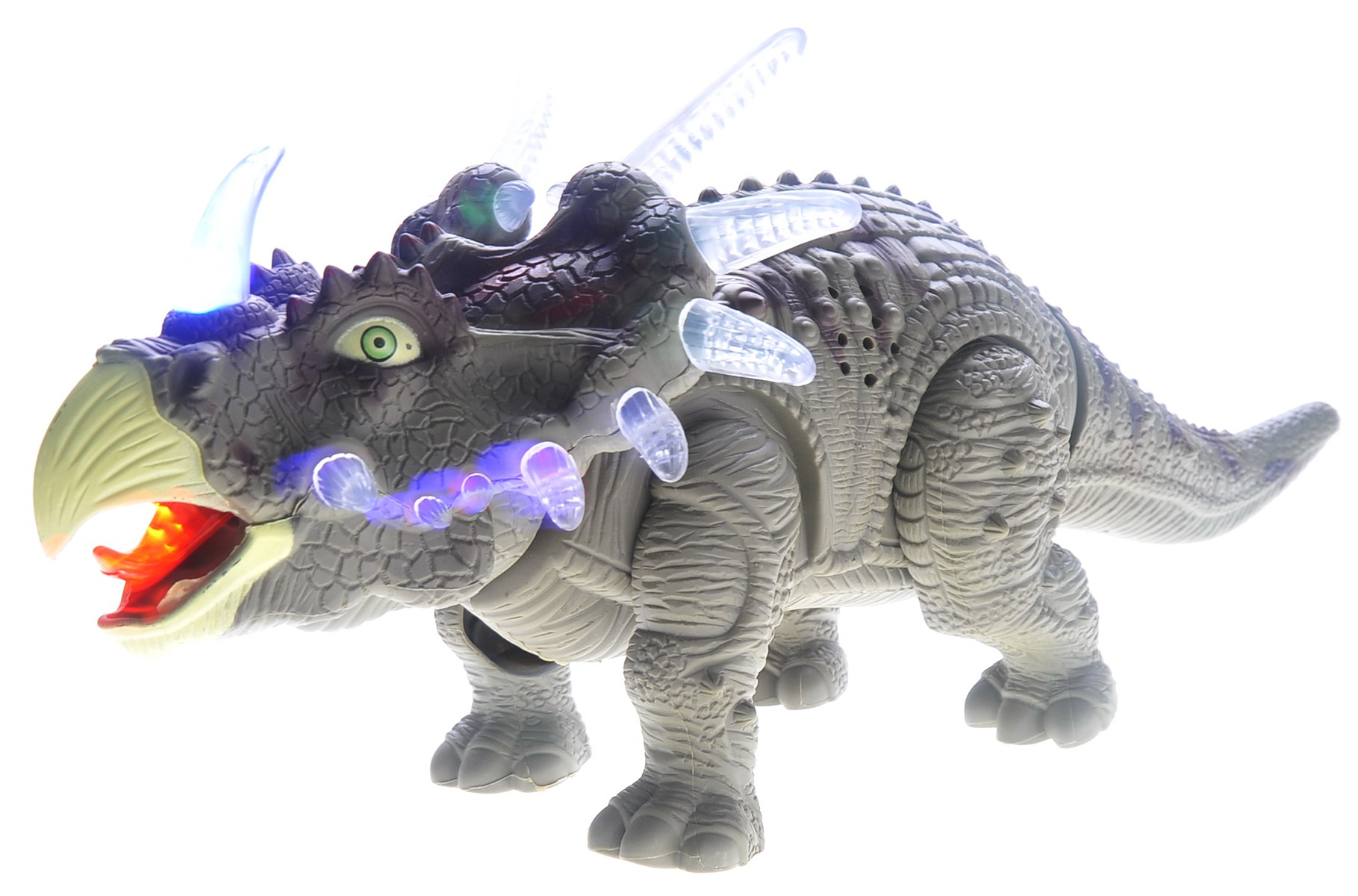 Walking Triceratops Dinosaur Toy Figure (Green)
