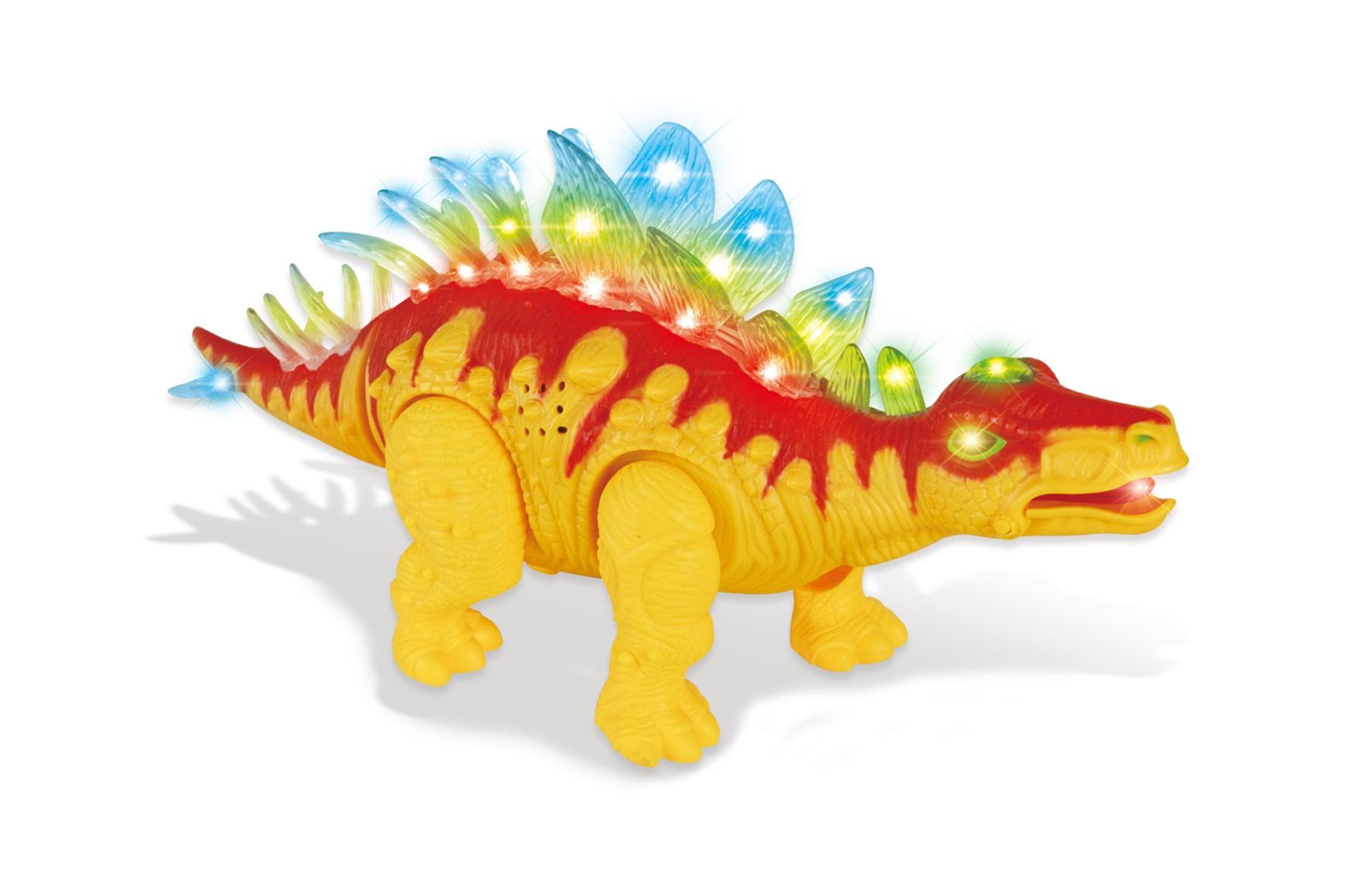 Walking Stegosaurus with Flashing And Sounds Dinosaur Toys For Kids (Orange)
