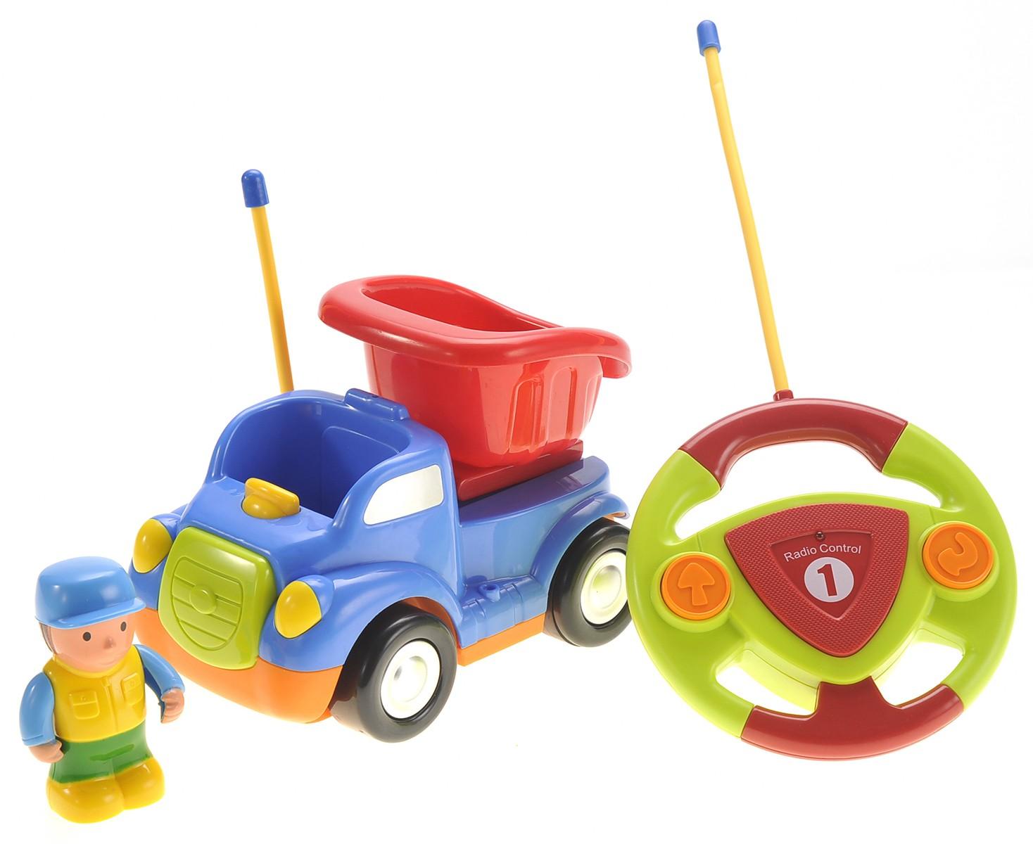Cartoon R/C Construction Car for Kids Blue