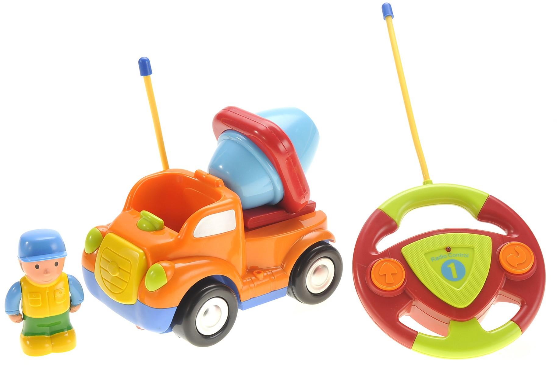 Cartoon R/C Construction Car for Kids Orange