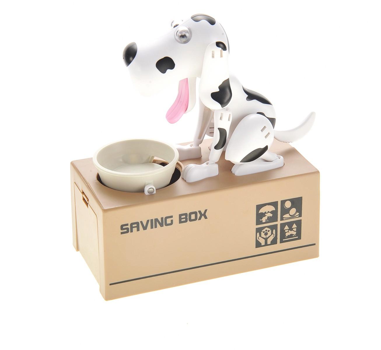 My Dog Piggy Bank - Robotic Coin Munching Money Box (White Black)