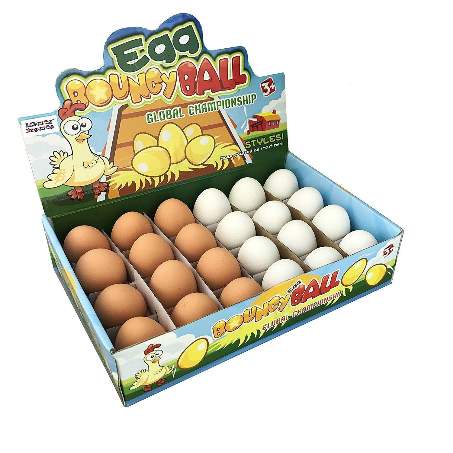 Realistic Fake Rubber Bouncy Eggs (24 Eggs Per Pack)