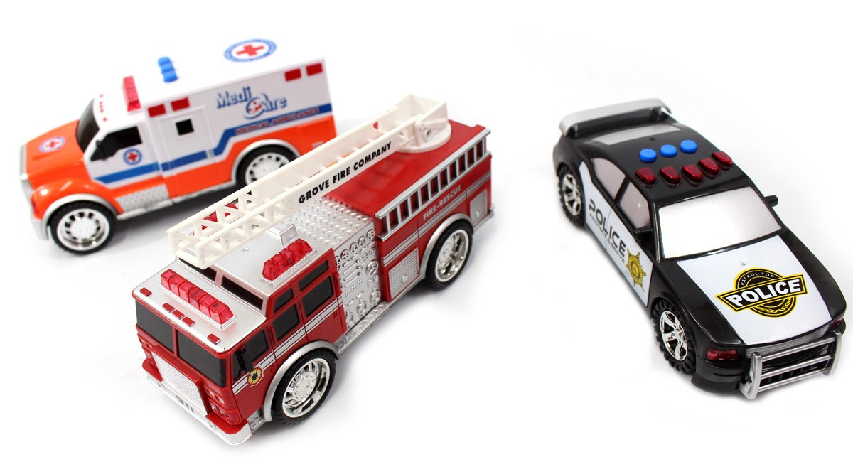 3-in-1 Emergency Vehicle Toy PlaySet For Kids (Fire Truck, Police Car, Ambulance)
