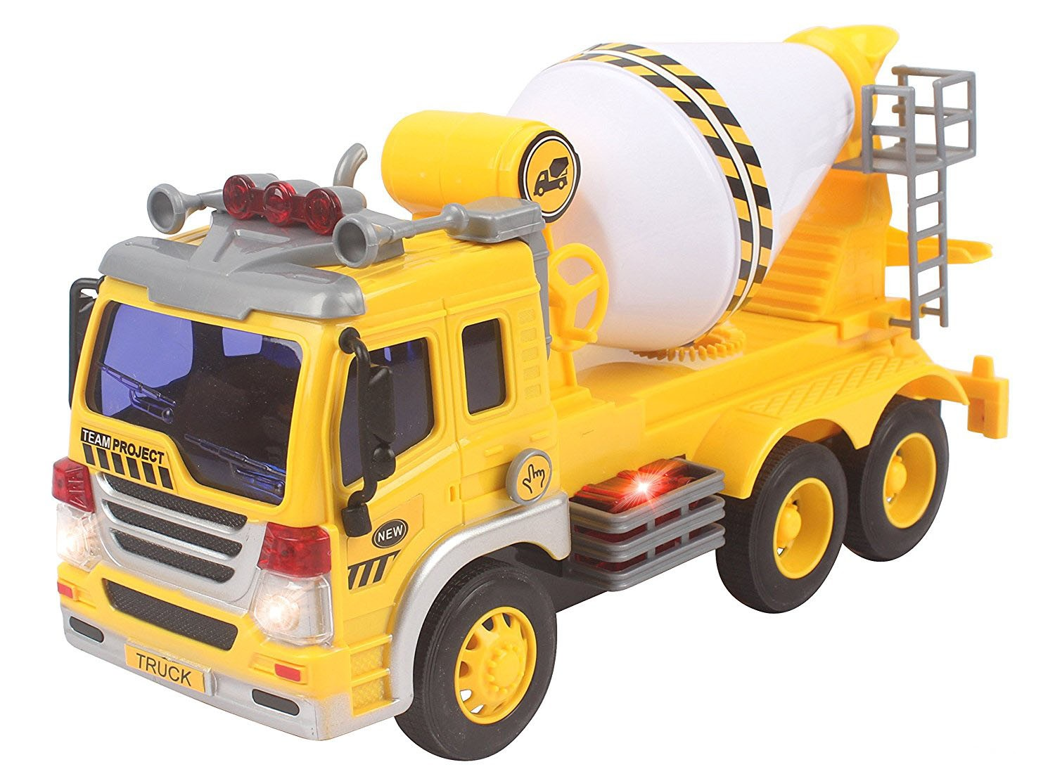 Friction Powered Cement Mixer Truck Toy With Lights And Sound