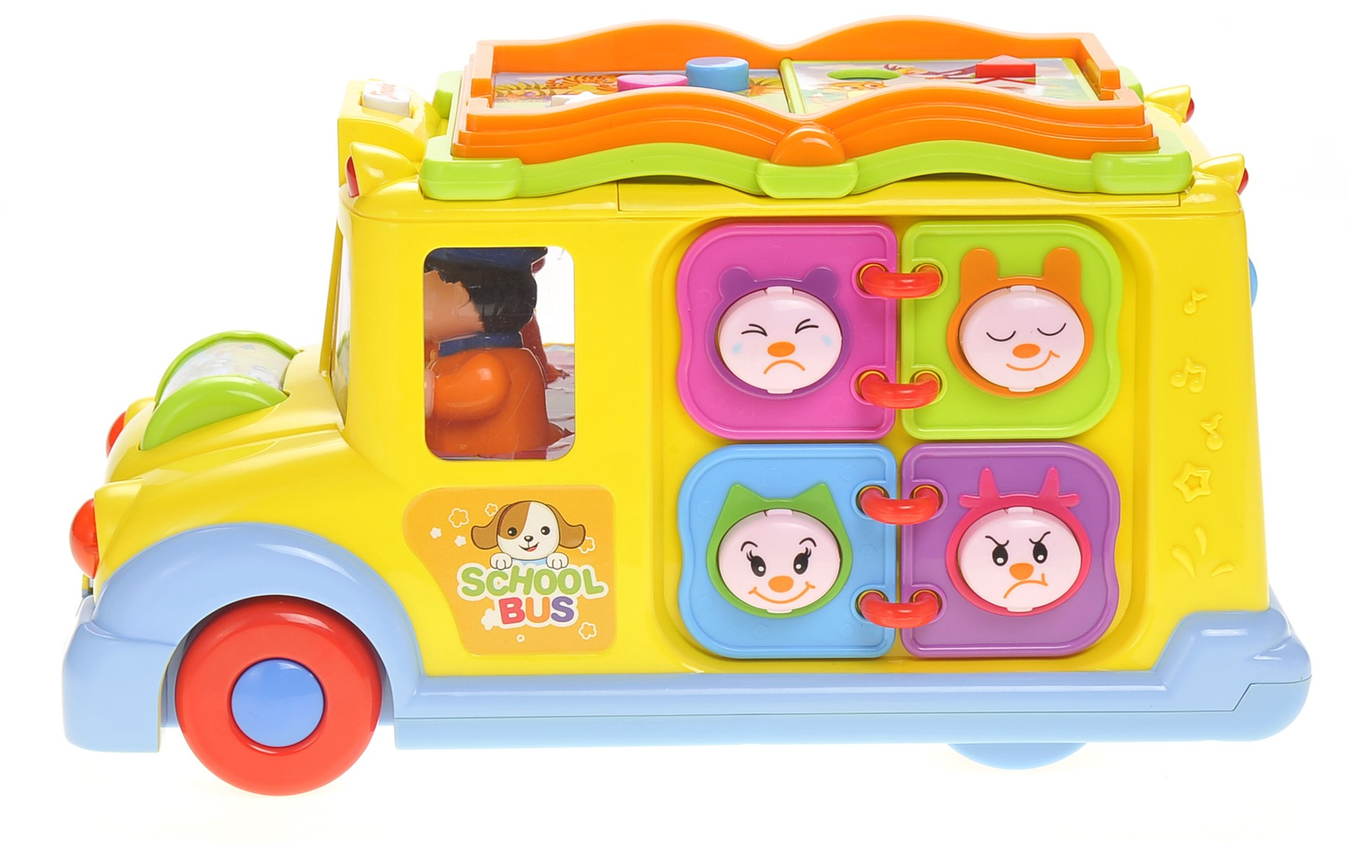 Interactive School Bus Toy w/ Flashing Lights & Sounds