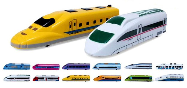 Pull Back Toy Trains, Set Of 12