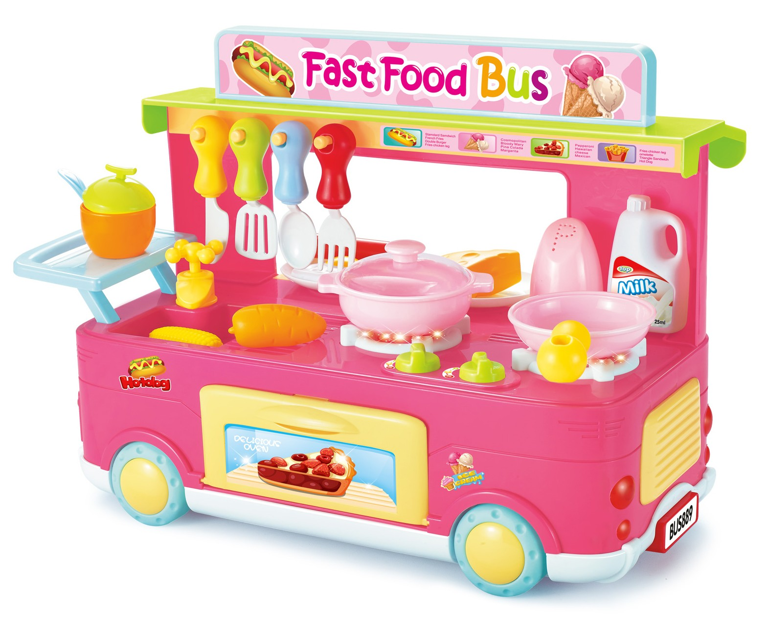 Fast Food Bus Kitchen Play Set Toy 29pcs (Pink)