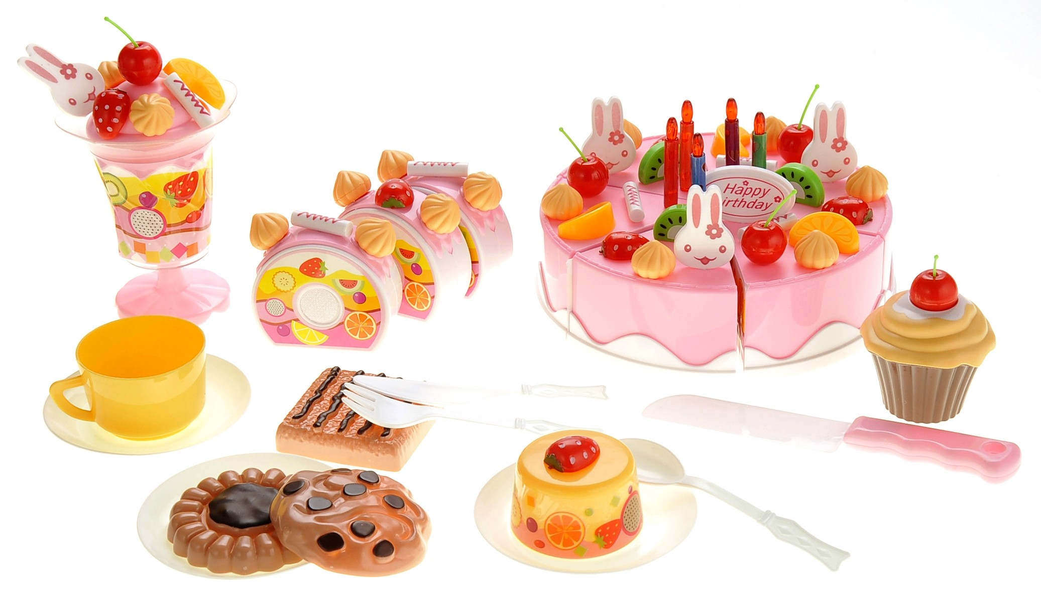 Birthday Cake 75pcs Pretend Play Food Toy Set (Pink)