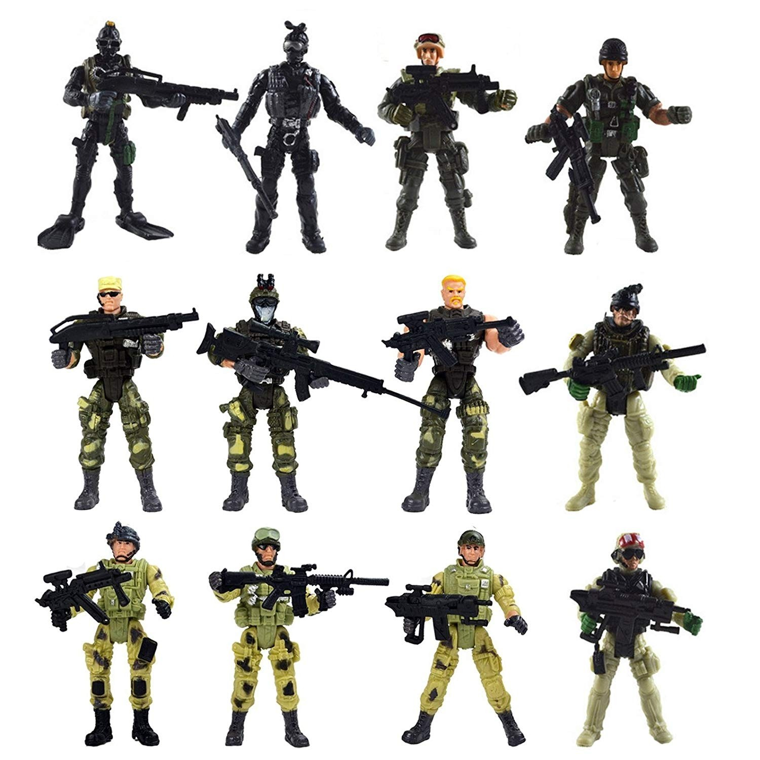 Special Force Army SWAT Soldiers Action Figures with Weapons and Accessories 4 Inches Tall, 12 Figures/Pack