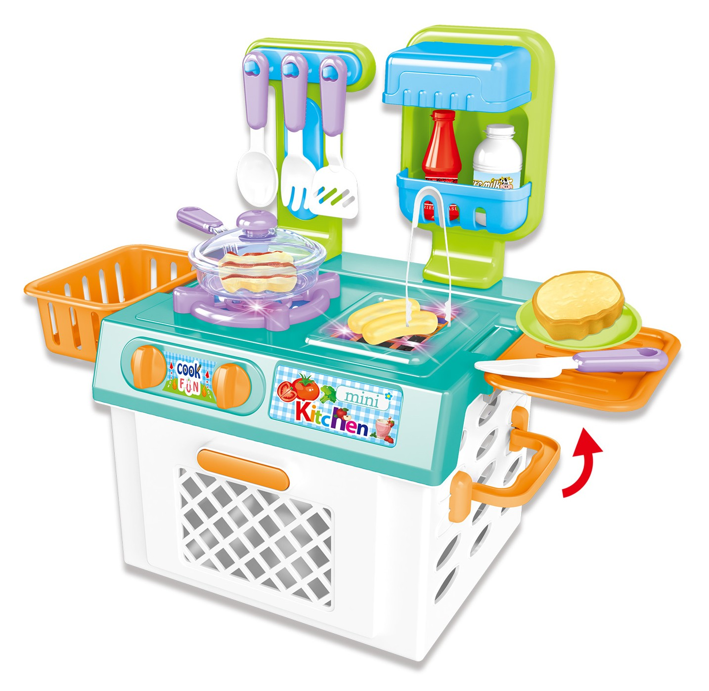 Mini Kitchen Playset With Sound And Color Changing Lights For Realistic Cooking