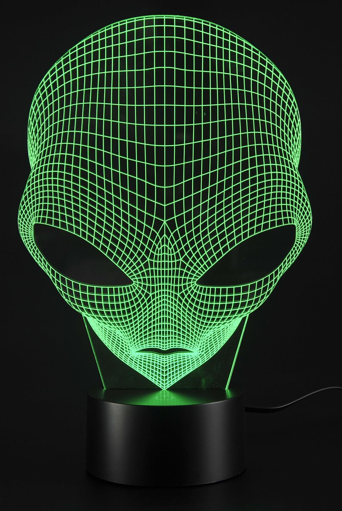 3D Lamp USB Power 7 Colors Amazing Optical Illusion 3D Grow LED Lamp Alien Shapes