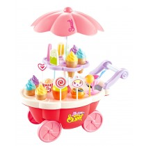 Pink Candy Ice Cream Cart Electrical with Light and Music 39PCS Miniature Sweet Shop Trolley Pretend Role Play