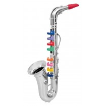 Saxophone with 8 Colored Keys, Metallic Silver