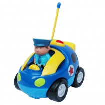 "4"" Cartoon RC Police Car Remote Control Toy for Toddlers (Blue)"