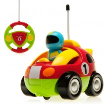 "4"" Cartoon R/C Race Car Remote Control Toy for Toddlers (Red)"