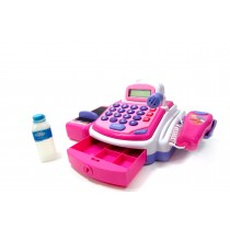 Pretend Play Electronic Cash Register Toy Realistic Actions & Sounds Pink Color: Pink
