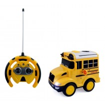 School Bus RC Toy Car For Kids With Steering Wheel Remote, Lights and Sounds