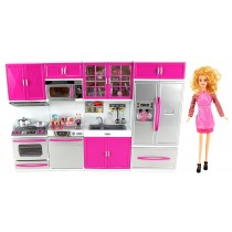 My Modern Kitchen Full Deluxe Kit Battery Operated Toy Doll Kitchen Playset with Toy Doll, Lights, and Sound