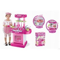 "26"" Portable Kitchen Appliance Oven Cooking Play Set w/ Lights & Sound (Pink) TF858"
