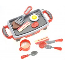 Breakfast Griddle Electric Stove Play Food Kitchen Grill Set for Kids