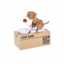 My Dog Piggy Bank - Robotic Coin Munching Money Box (White Brown)