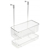 Chrome Cabinet Storage Basket w/ Two Shelves