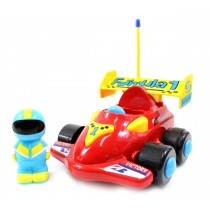 "4"" Cartoon RC Formula Race Car Remote Control Toy For Toddlers (Red)"