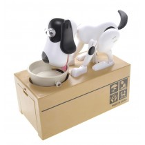 My Dog Piggy Bank - Robotic Coin Munching Toy Money Box (White With Black Spot)