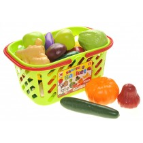Fruits and Vegetables Shopping Basket Grocery Play Food Set for Kids