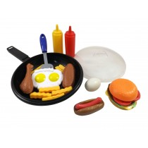 Fast Food Cooking Pan 25 Piece Kitchen Play Food Set