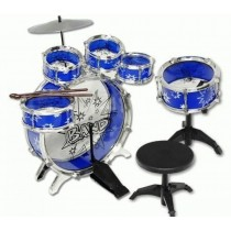 Kids Drum Set Musical Instrument 11pc Toy Playset Blue