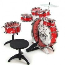 Kids Drum Set Musical Instrument 11pc Toy Playset Red