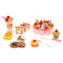 Birthday Cake 75pcs Pretend Play Food Toy Set Pink