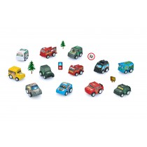 12 Piece Pull Back And Go Toy Cars With Road Signs