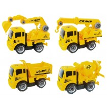 Take-A-Part Friction Powered Construction Trucks With Crane, Excavator, Mixer, Dump Truck