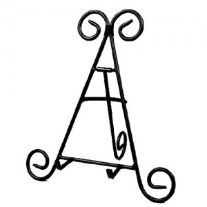 """12"""" Tall Black Iron Display Stand Holds"""