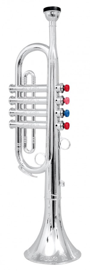 Metallic Silver Kids Trumpet Horn Wind Instrument with 4 Colored Keys