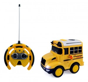 School Bus RC Toy Car for kids with Steering Wheel Remote, Lights and Sounds PS26A