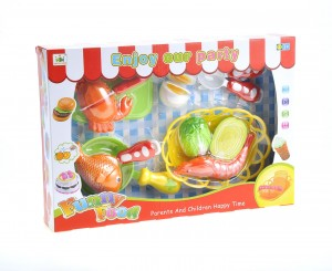 Kitchen Fun Seafood Hot Pot Dinner Cutting Food Playset for Kids with Egg and Vegetable
